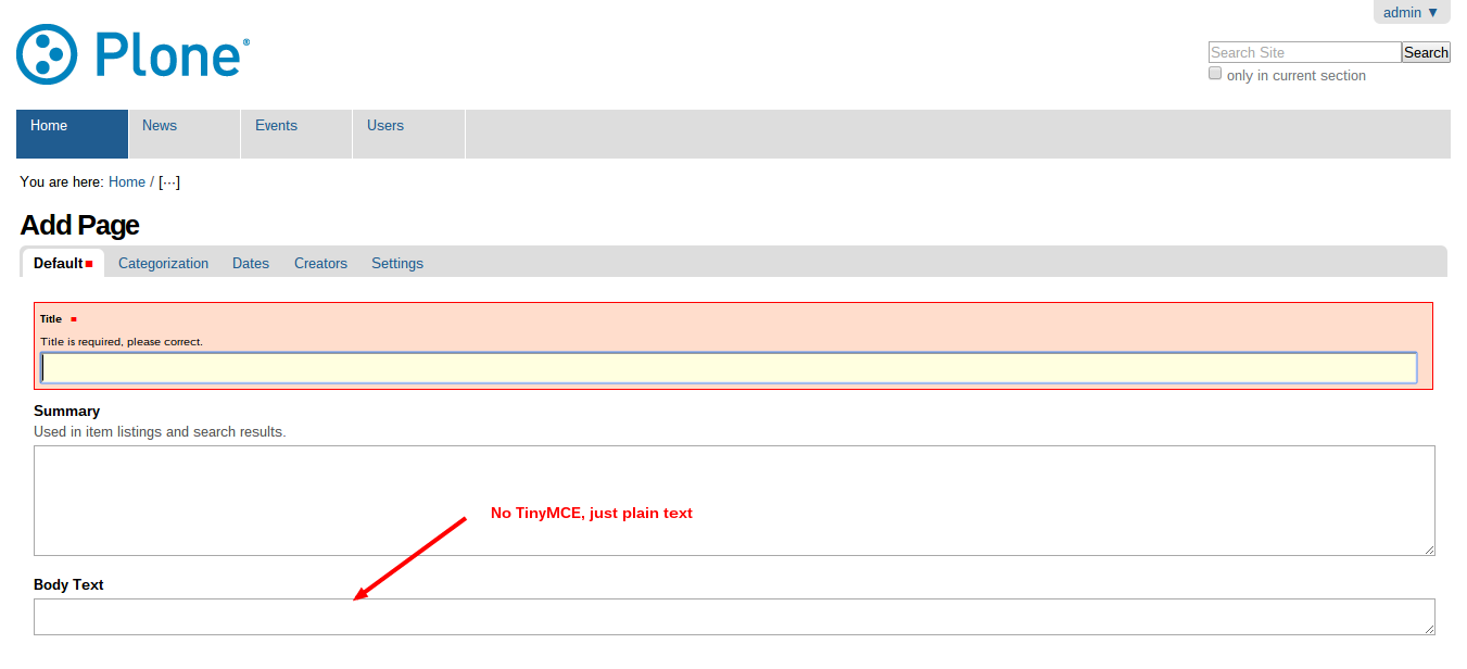 TinyMCE broken for Pages but not News Items - Using Plone - Plone