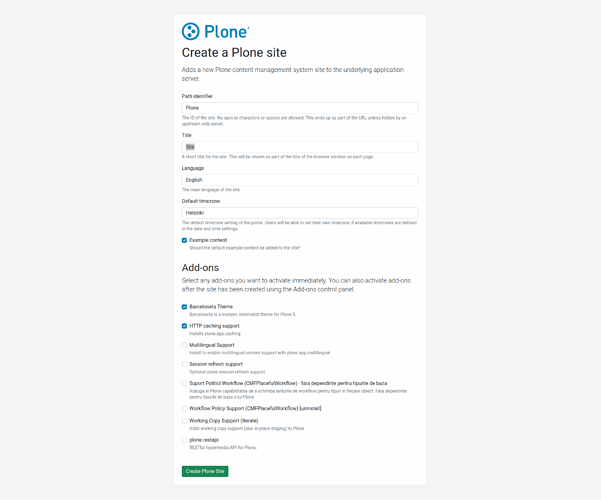 Create-a-Plone-site