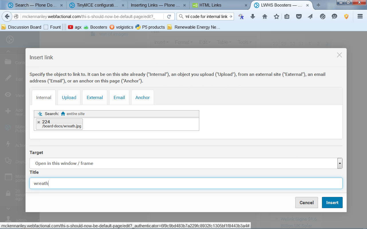 tinyMCE is not adding code for links - Using Plone - Plone Community
